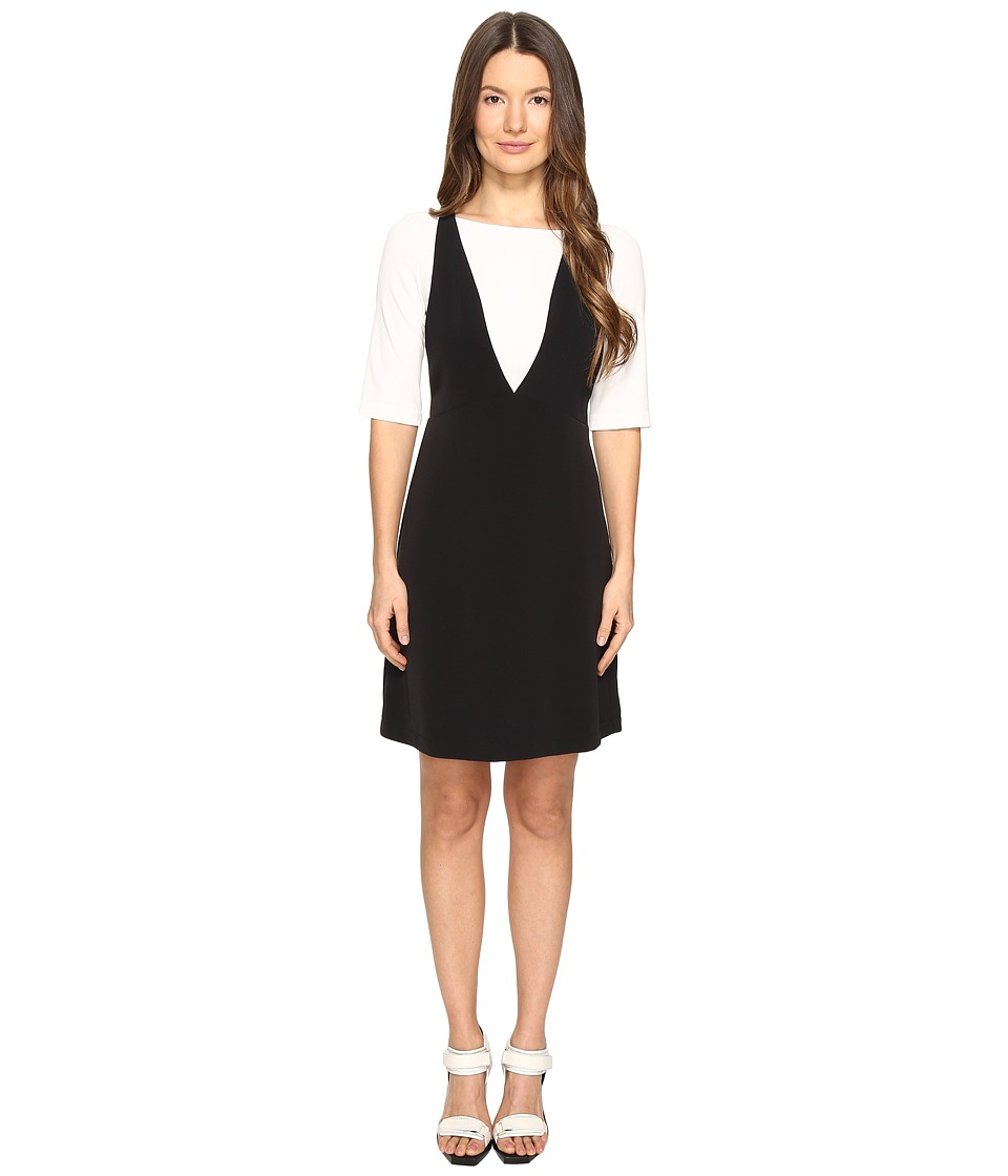 Boutique Moschino - Mesh Overlay T-Shirt Dress (Black/White) Women's Dress