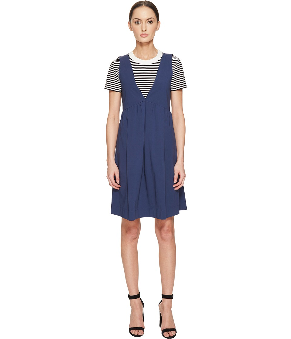 Boutique Moschino - Double Layer Stripe Dress (Navy) Women's Dress