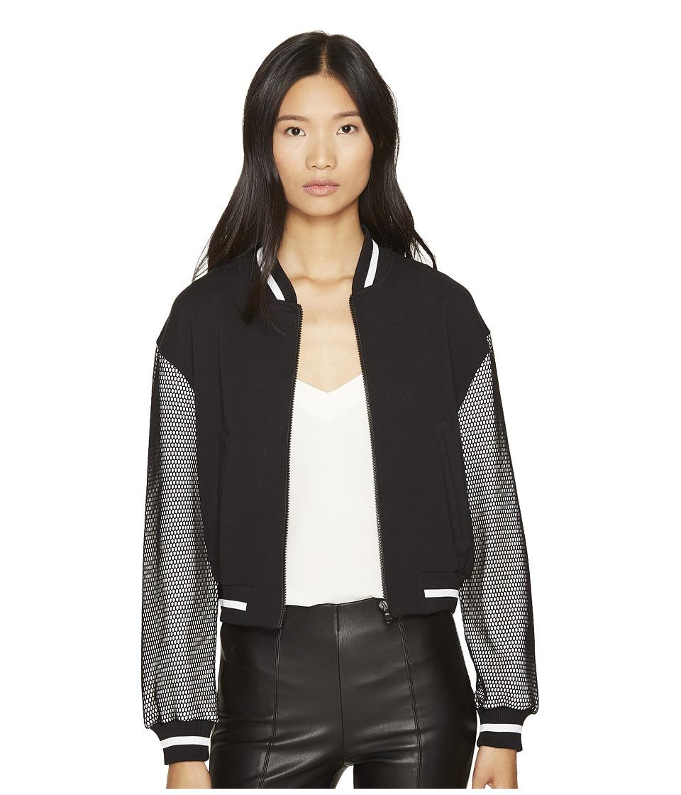 Boutique Moschino - Mesh Bomber (Black/White) Women's Coat
