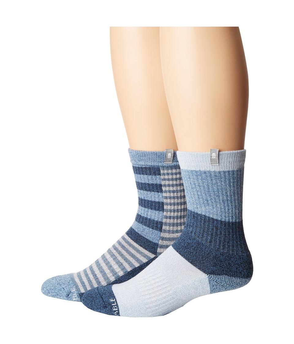 Sanuk - The Twofer Crew Socks 2-Pack (Indigo Patchwork) Men's Crew Cut Socks Shoes