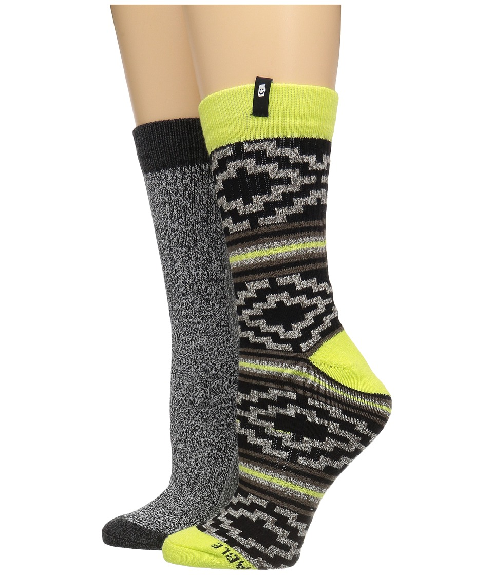 Sanuk - The Twofer Crew Socks 2-Pack (Natural Highlighter) Men's Crew Cut Socks Shoes