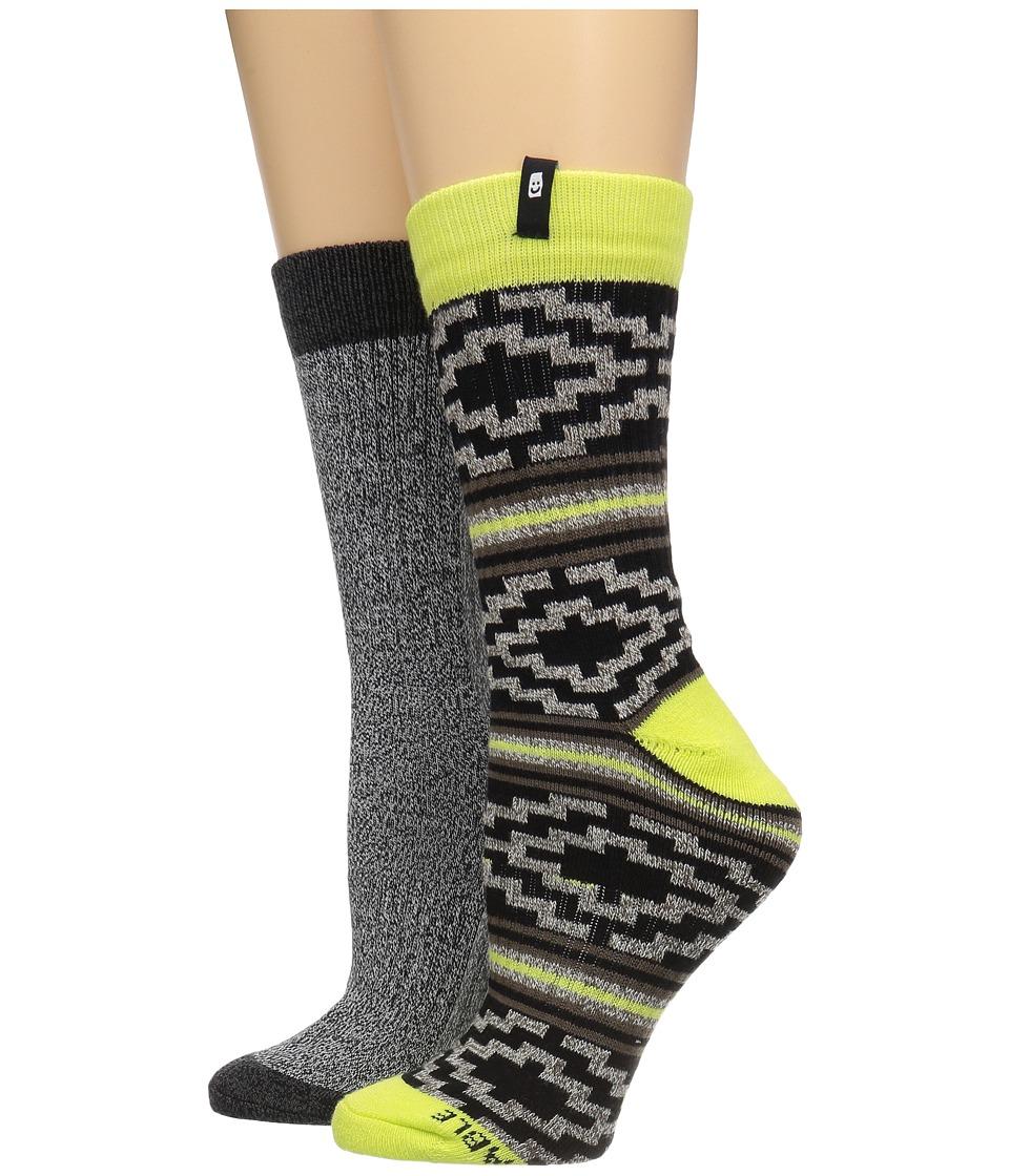Sanuk - The Twofer Crew Socks 2-Pack (Natural Highlighter) Men's Crew Cut Socks Shoes