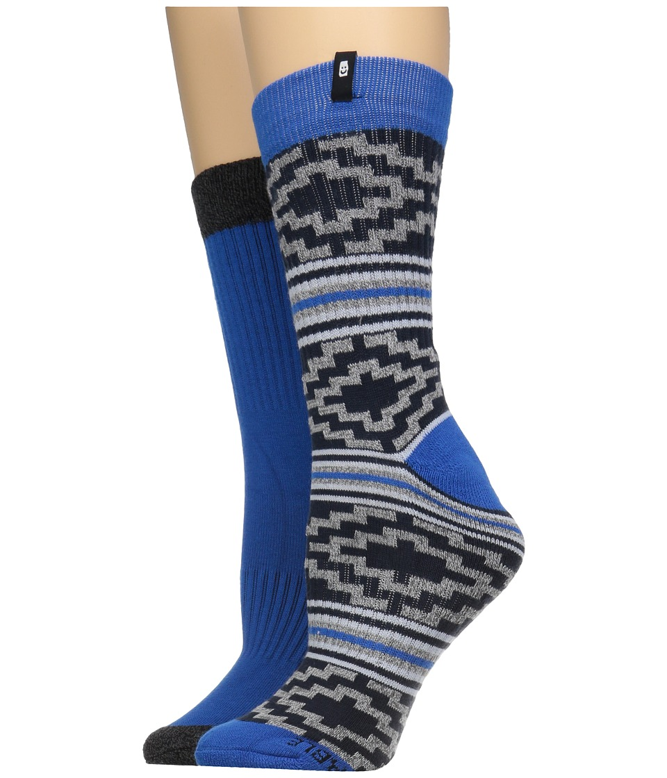 Sanuk - The Twofer Crew Socks 2-Pack (Blue Multi) Men's Crew Cut Socks Shoes