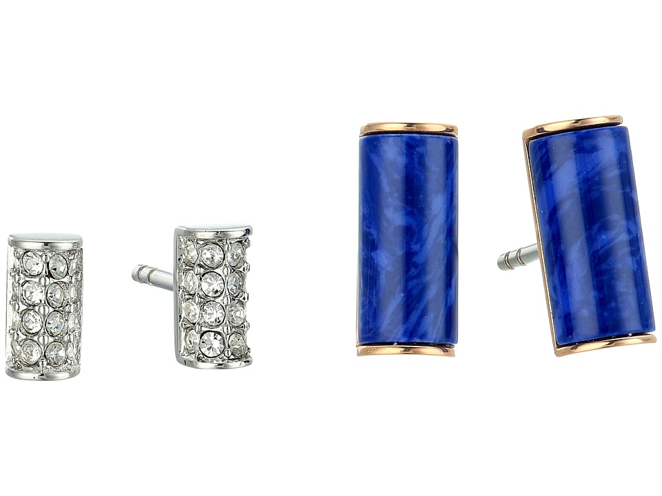 Fossil - Semi-Precious Bar Stud Duo Earrings (Rose Gold/Blue) Earring
