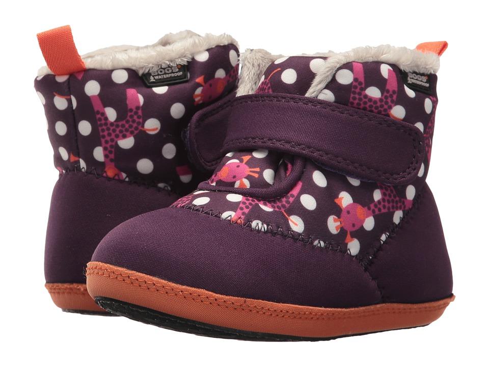 Bogs Kids Elliot Giraffe (Infant/Toddler) (Eggplant Multi) Girls Shoes