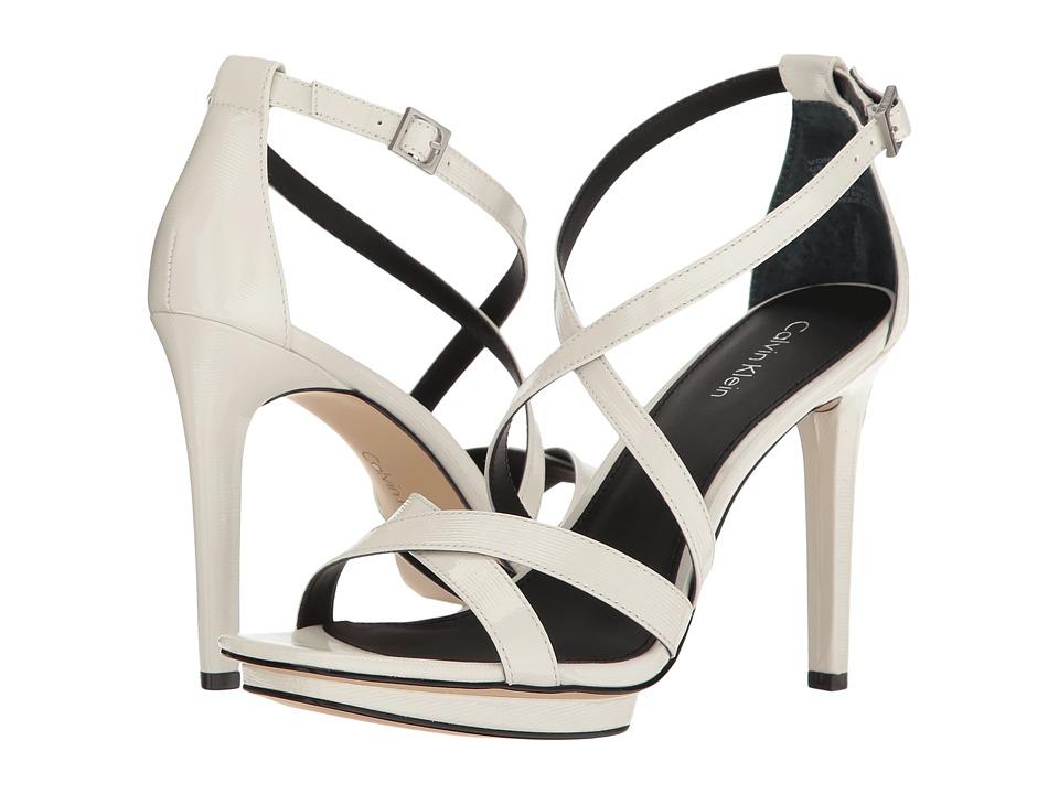 Calvin Klein - Vonnie (Platinum White Linear Patent) Women's Wedge Shoes