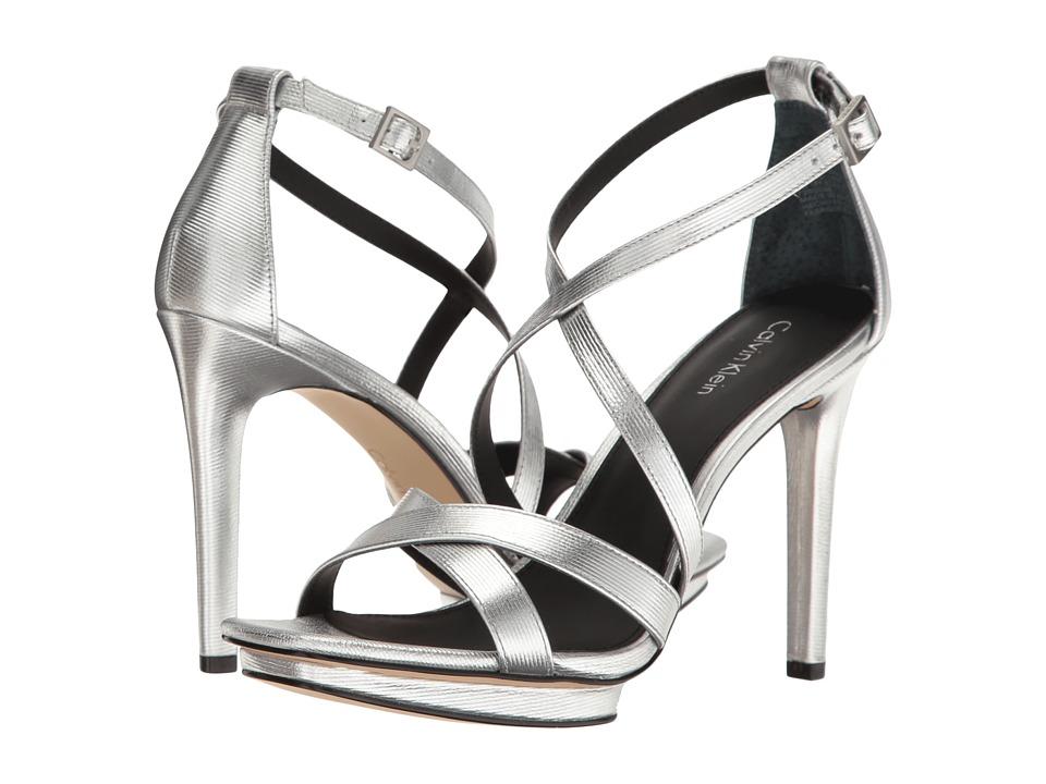 Calvin Klein - Vonnie (Silver Metallic Box Leather) Women's Wedge Shoes