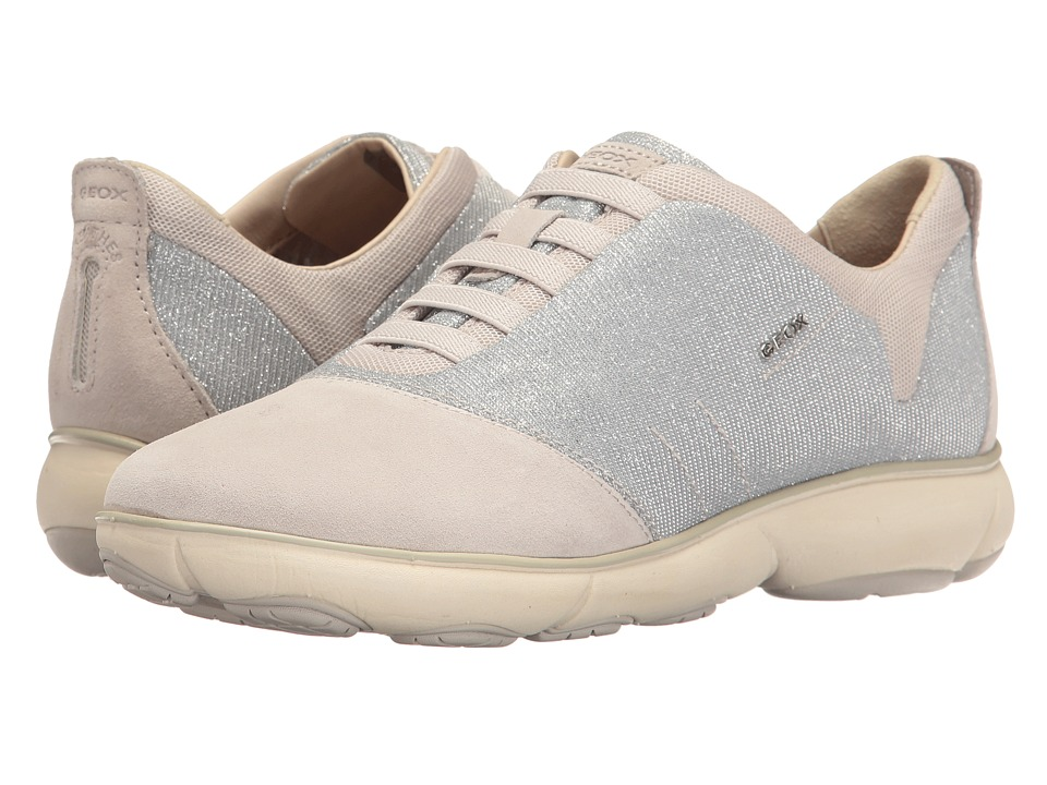 Geox - W NEBULA 11 (Silver/Off-White) Women's Lace up casual Shoes