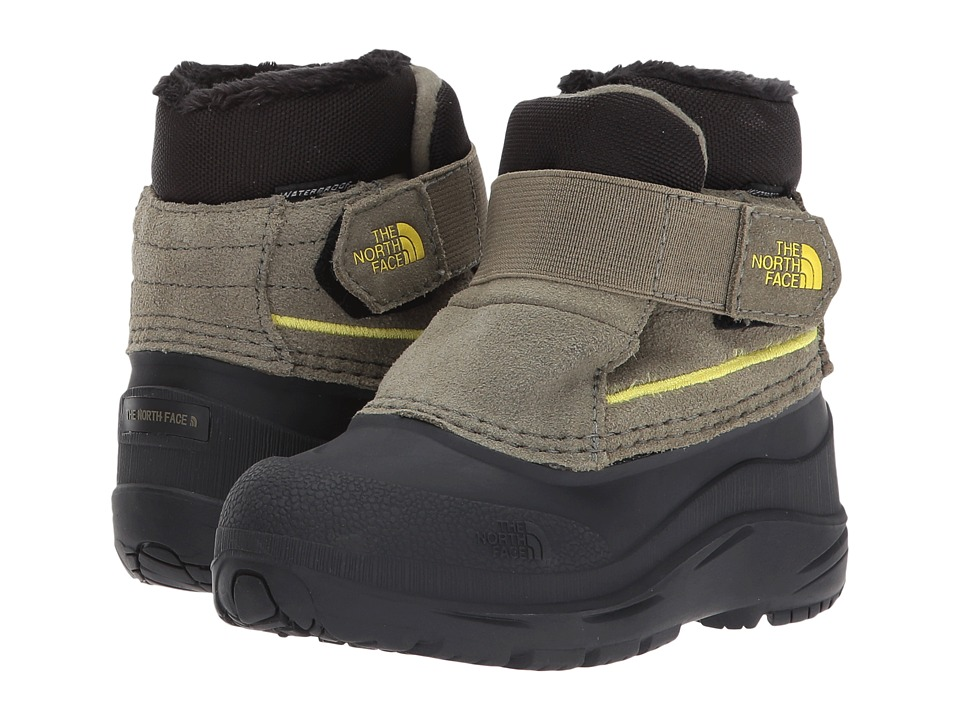 The North Face Kids Alpenglow (Toddler) (Burnt Olive Green/Acid Yellow) Boys Shoes