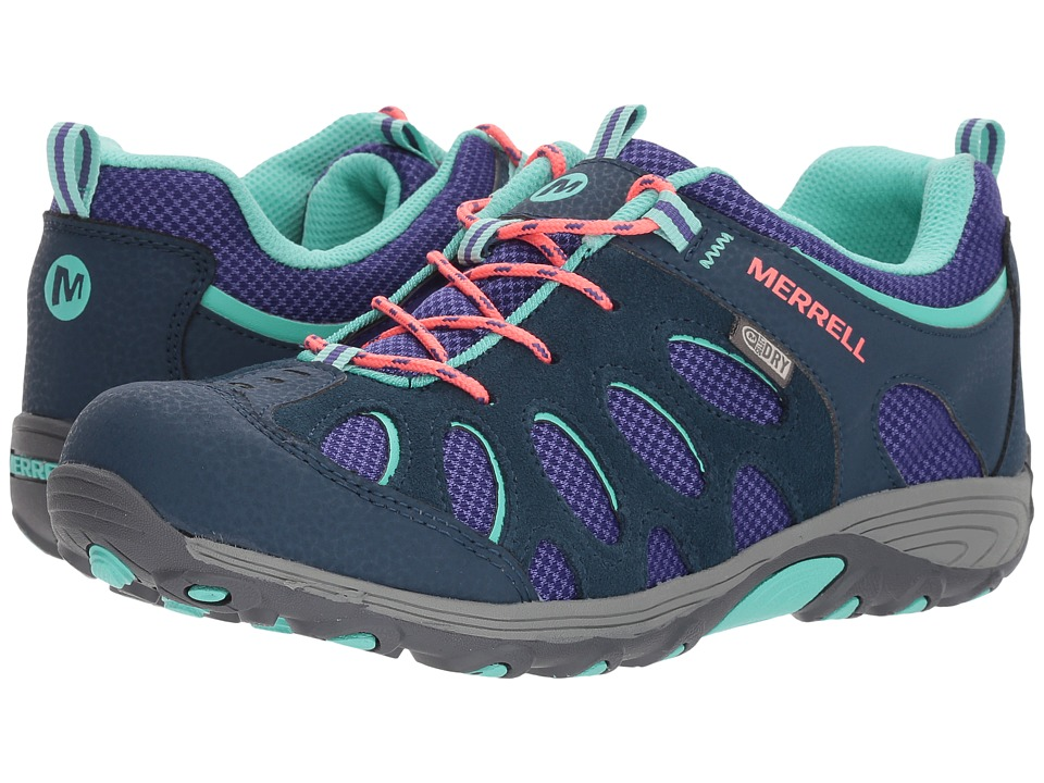 Merrell Kids Chameleon Low Lace Waterproof (Big Kid) (Navy/Multi) Girls Shoes