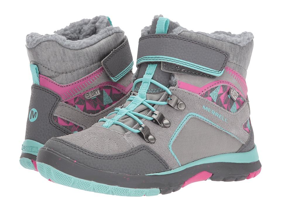 Merrell Kids Moab FST Polar Mid A/C Waterproof (Little Kid) (Grey/Multi) Girls Shoes