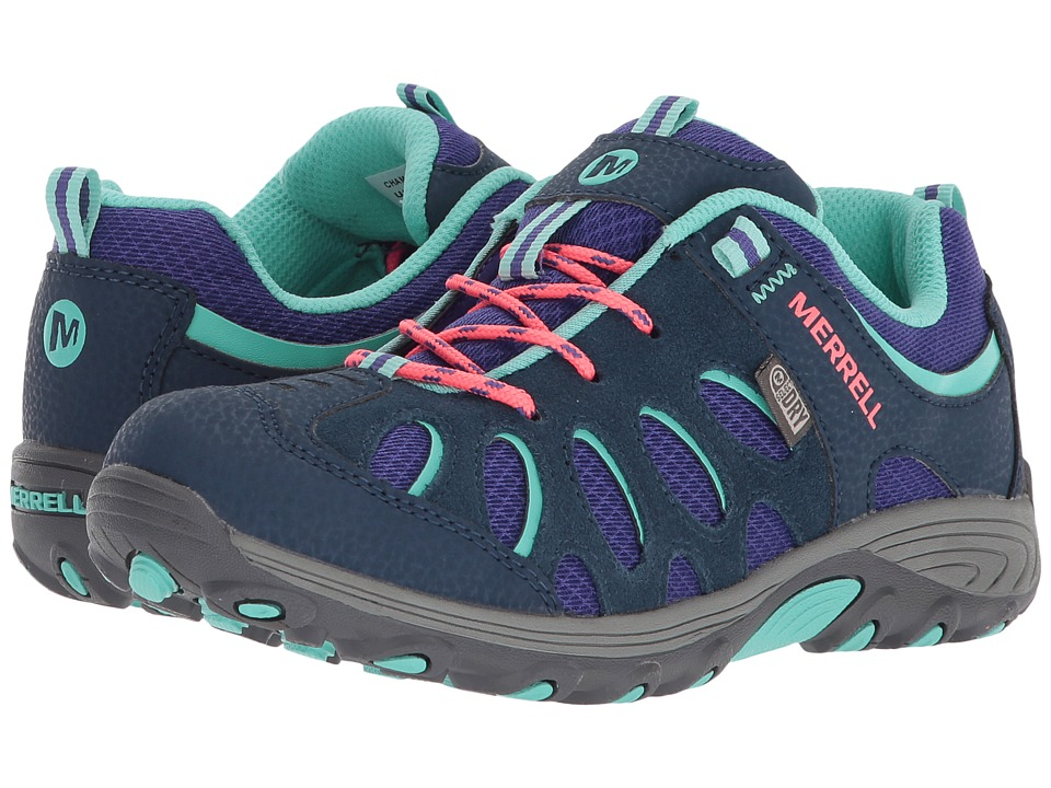 Merrell Kids Chameleon Low Lace Waterproof (Little Kid) (Navy/Multi) Girls Shoes