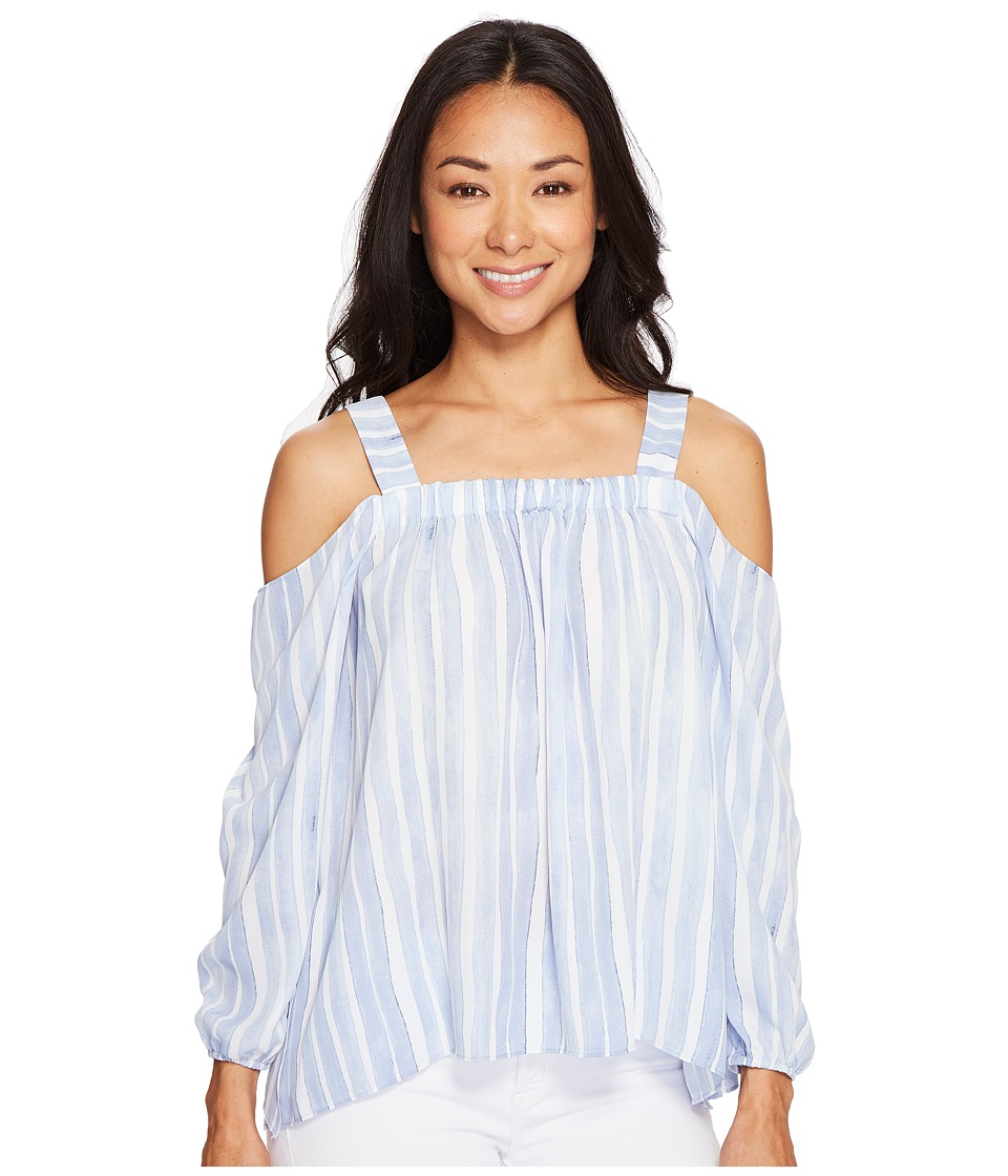 Vince Camuto Specialty Size - Petite Long Sleeve Graceful Phrases Cold-Shoulder Drape Blouse (Stormy Blue) Women's Blouse