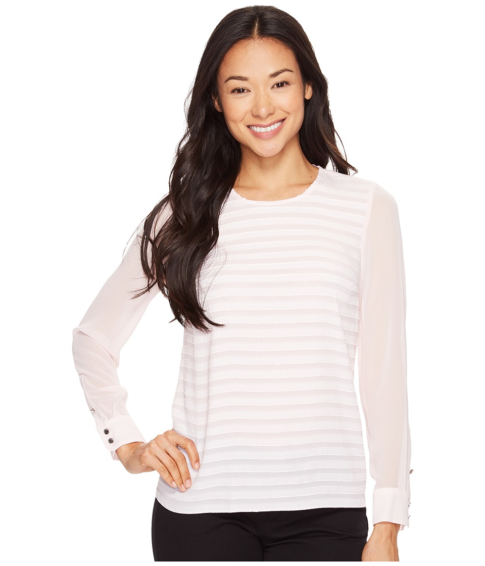 Vince Camuto Specialty Size - Petite Long Sleeve Ribbon Stripe Blouse (Pale Dahlia) Women's Blouse