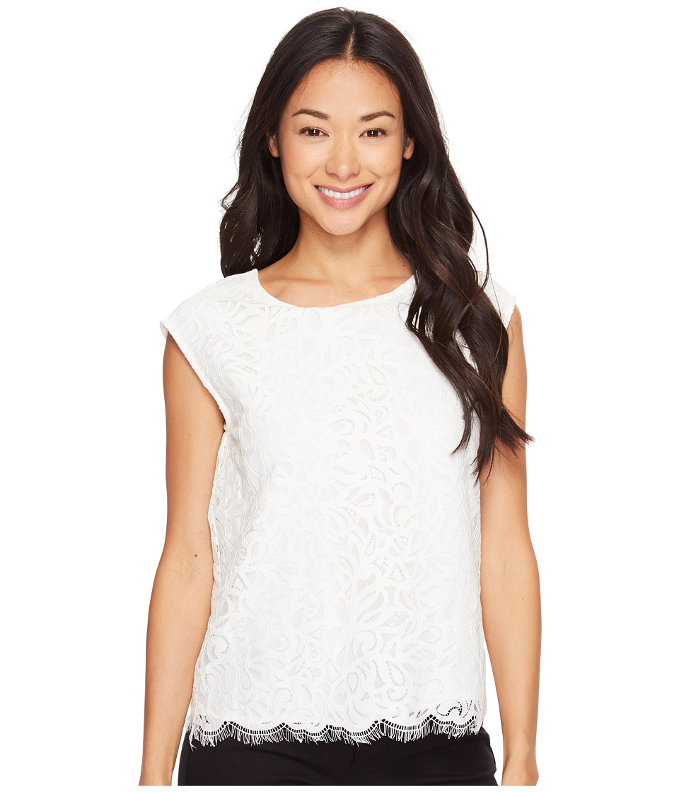 Vince Camuto Specialty Size - Petite Extend Shoulder Geo Lace Blouse (New Ivory) Women's Blouse