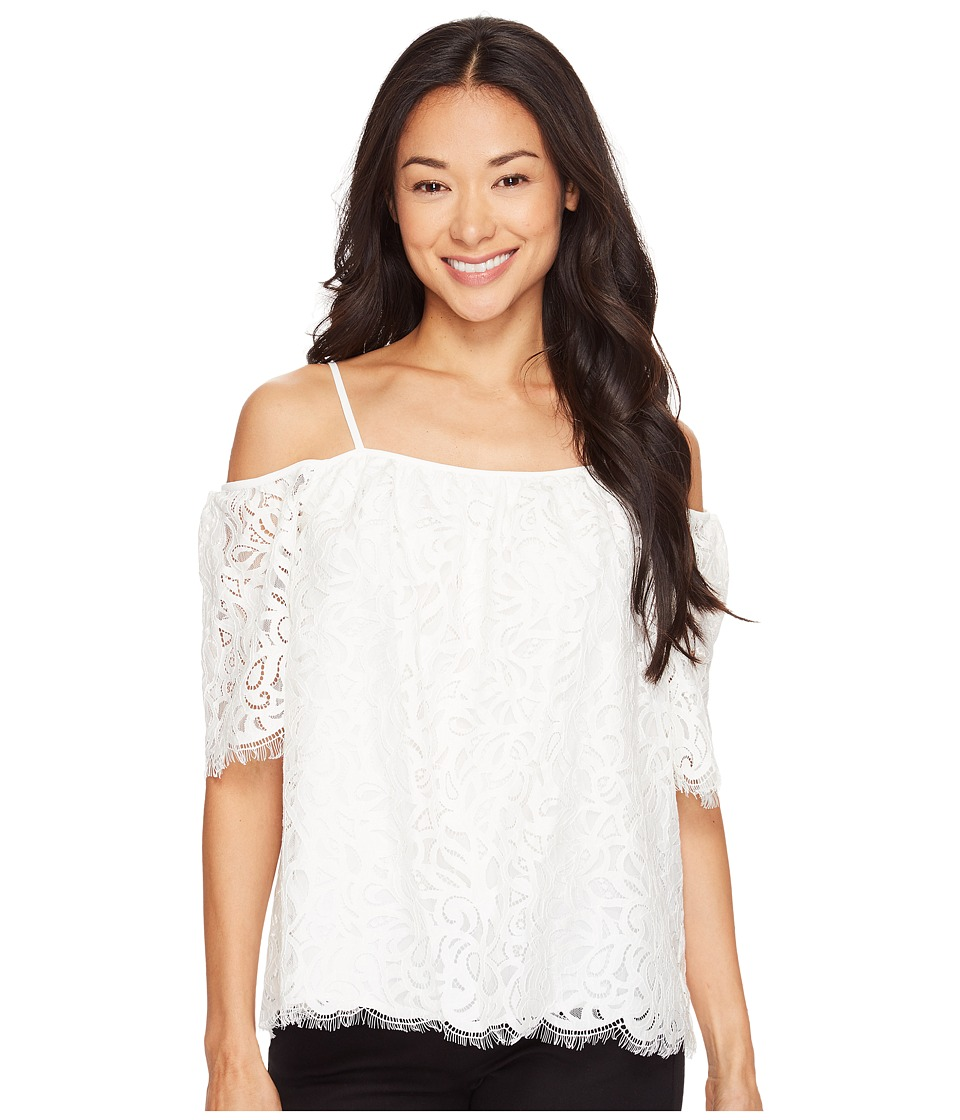 Vince Camuto Specialty Size - Petite Elbow Sleeve Cold-Shoulder Geo Lace Blouse (New Ivory) Women's Blouse