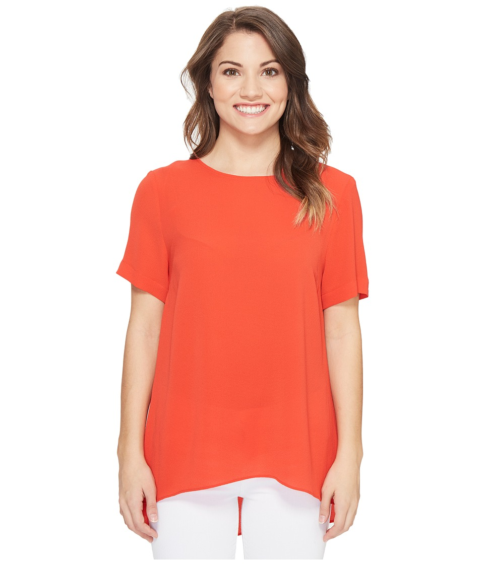 Vince Camuto Specialty Size - Petite Short Sleeve High-Low Hem Textured Blouse (Dynamic Red) Women's Blouse