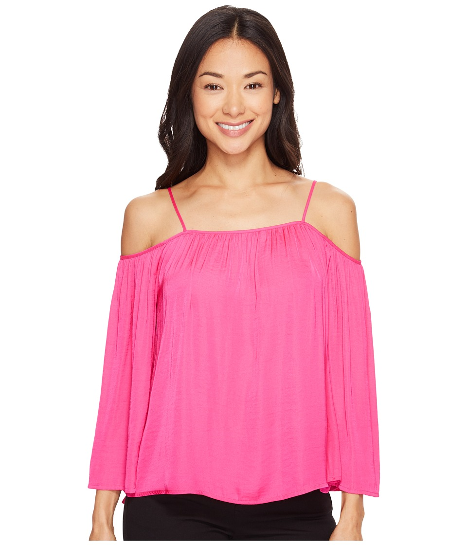 Vince Camuto Specialty Size - Petite Long Sleeve Cold-Shoulder Blouse (Electric Pink) Women's Blouse