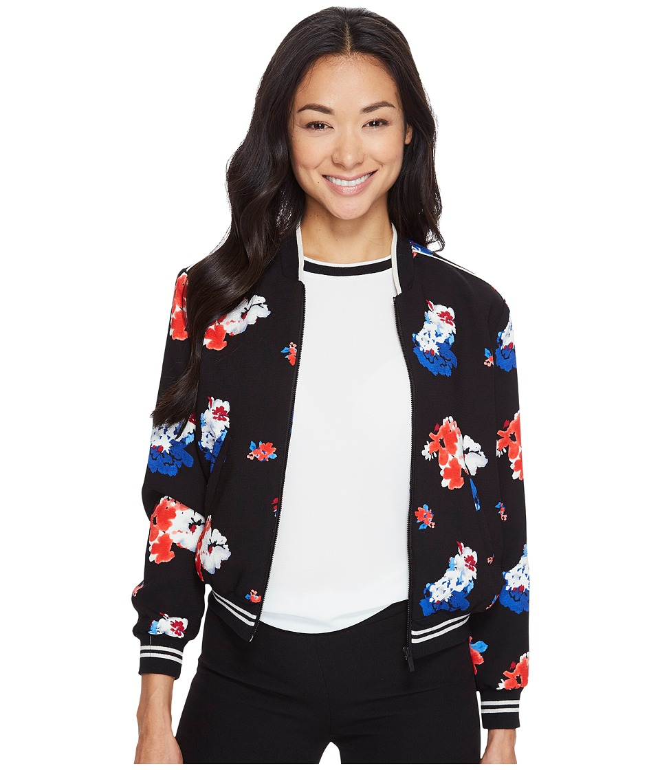 Vince Camuto Specialty Size - Petite Traveling Bloom Zip Front Bomber Jacket (Rich Black) Women's Coat