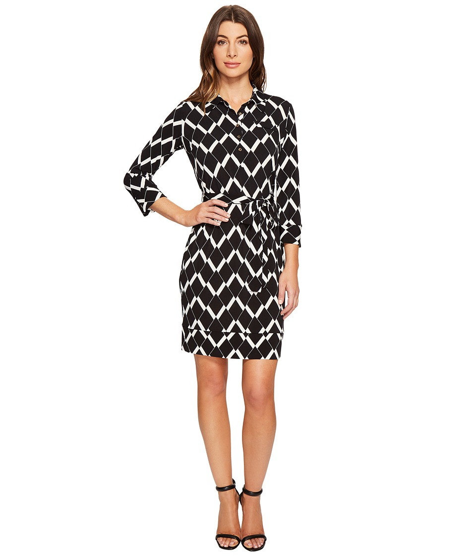 Donna Morgan - 3/4 Sleeve Jersey Shirtdress (Black/Whitecap Grey) Women's Dress