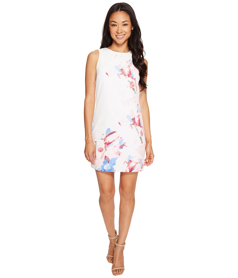 Vince Camuto Specialty Size Petite Sleeveless Poetic Bouquet Shift Dress (New Ivory) Women