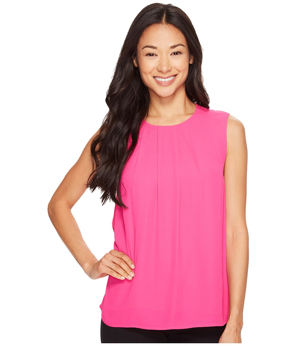 Vince Camuto Specialty Size - Petite Sleeveless Front Pleat Blouse (Electric Pink) Women's Sleeveless