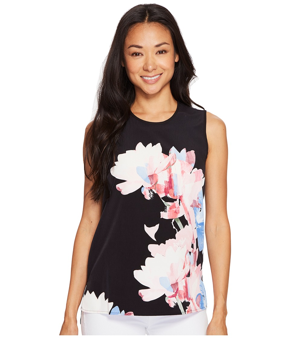 Vince Camuto Specialty Size - Petite Sleeveless Poetic Bouquet Mix Media Top (Rich Black) Women's Sleeveless