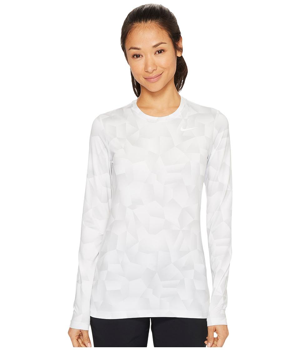 Nike Golf Crew Baselayer Holiday Print (White/Pure Platinum/Flat Silver) Women