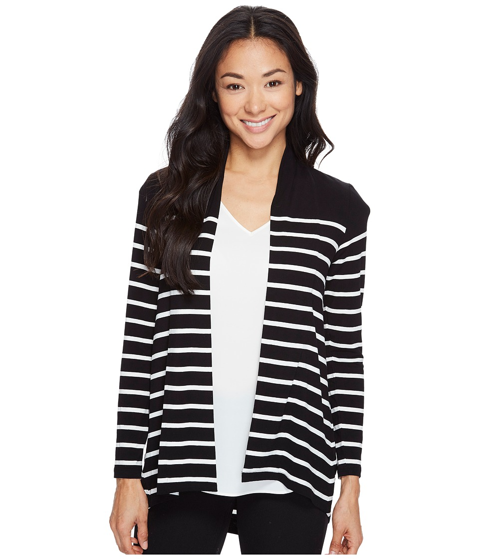 Vince Camuto Specialty Size - Petite Long Sleeve Clipper Stripe Panel Cardigan (Rich Black) Women's Sweater