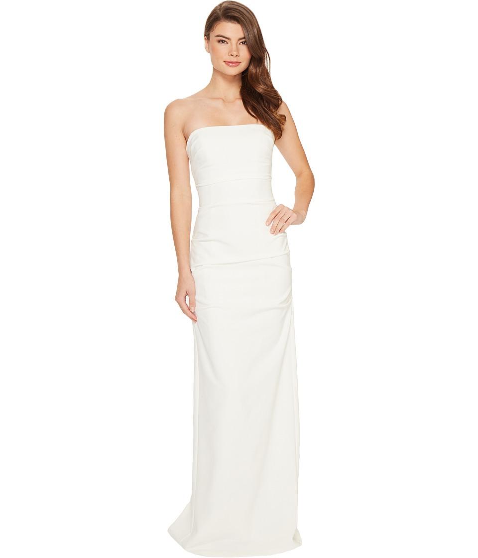 Nicole Miller - Felix Techy Crepe Strapless Gown (White) Women's Dress
