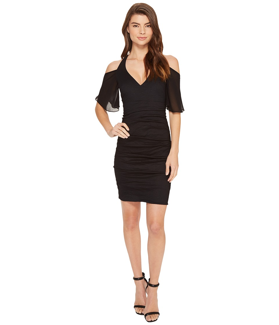 Nicole Miller Cosmo Flutter Sleeve Dress (Black) Women