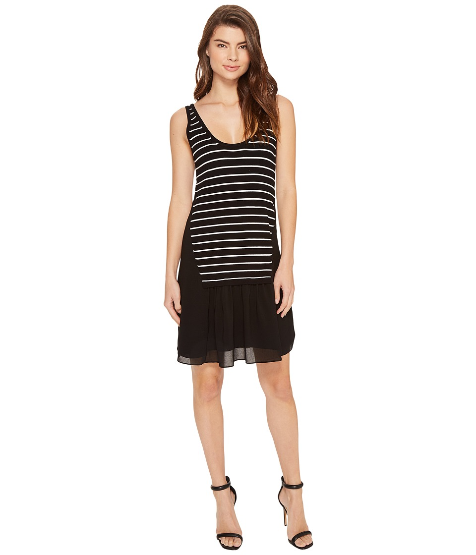 Nicole Miller - Sara Striped Combo Shift Dress (Black/White) Women's Dress