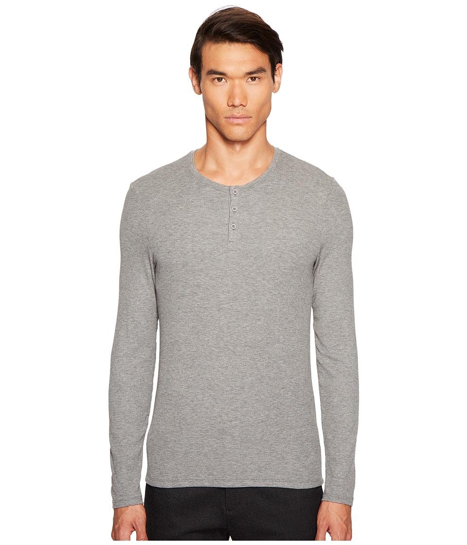 ATM Anthony Thomas Melillo - Long Sleeve Rib Henley (Heather Grey) Men's Clothing
