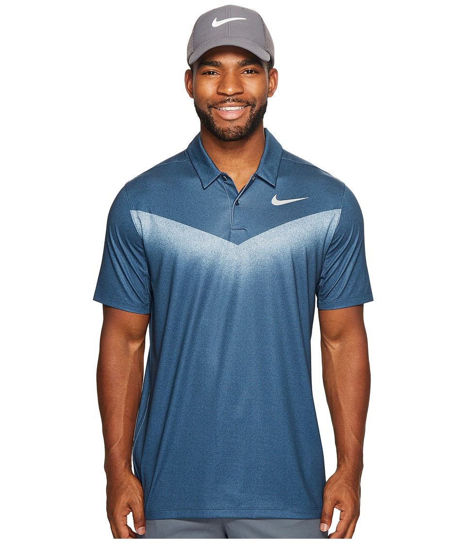 Nike Golf - Mobility Print 2 Polo (Armory Navy/White/Flat Silver) Men's Short Sleeve Pullover