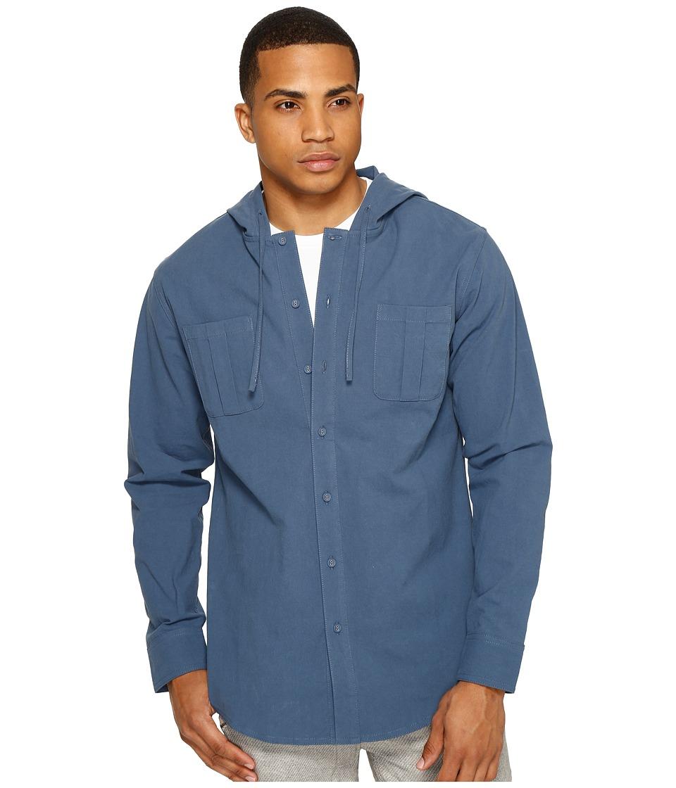 Publish - Aedan - Hooded Button Up (Slate) Men's Clothing