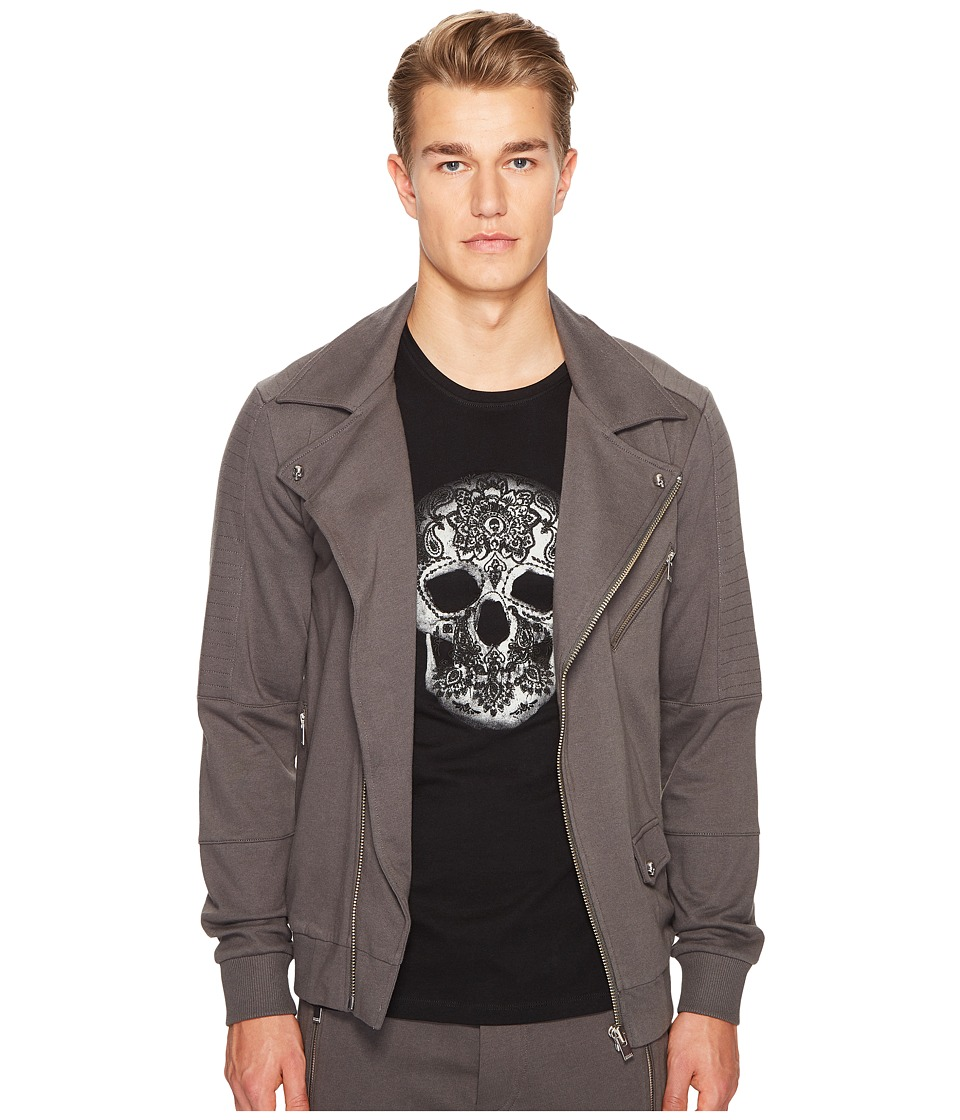 The Kooples - Hooded Sweatshirt with Zip Detail and Grosgrain Tape (Khaki Grey) Men's Sweatshirt