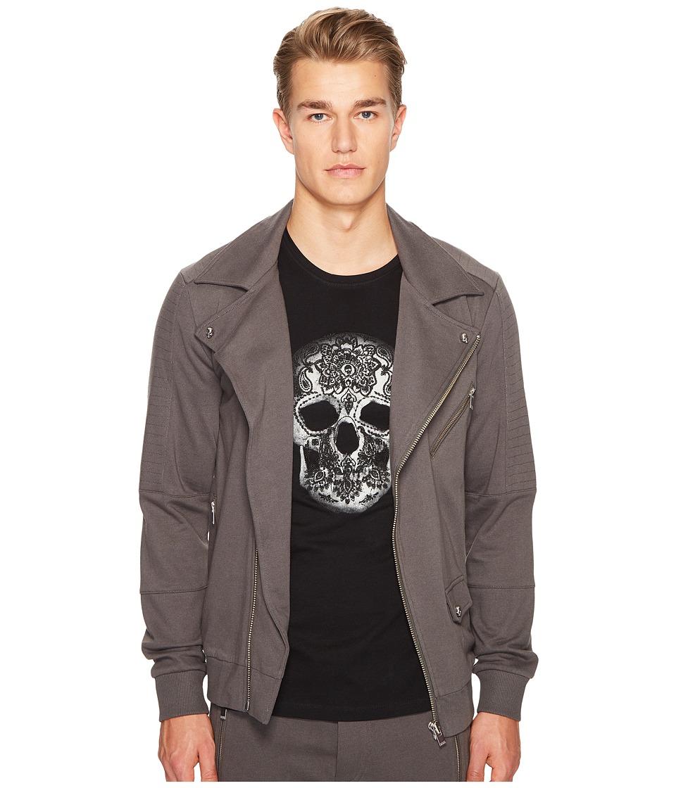 The Kooples - Hooded Sweatshirt with Zip Detail and Grosgrain Tape (Khaki Grey) Men's Sweatshirt