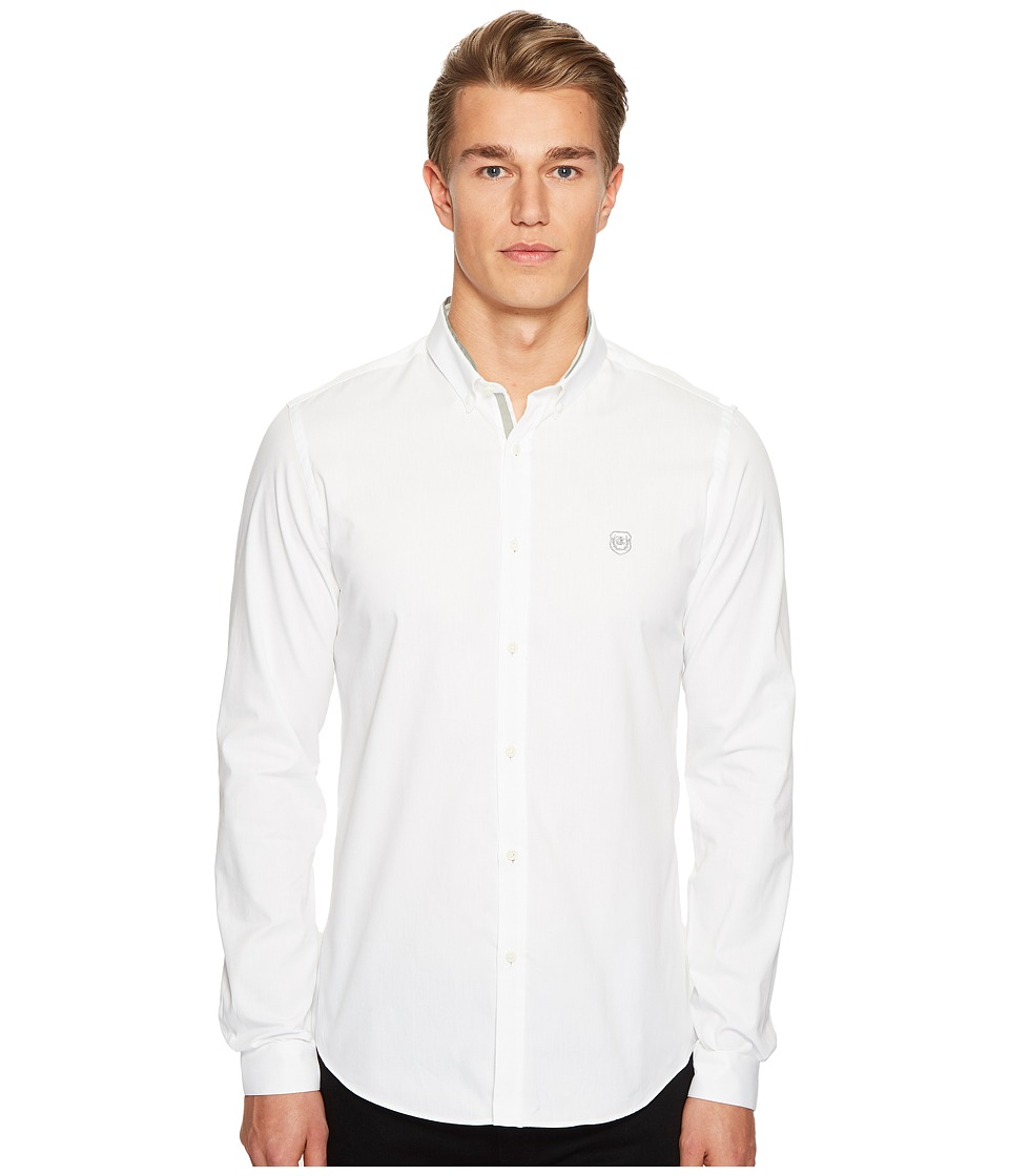 The Kooples - Oxford Shirt Officer Collar with Grosgrain and Embroidery (White) Men's Clothing