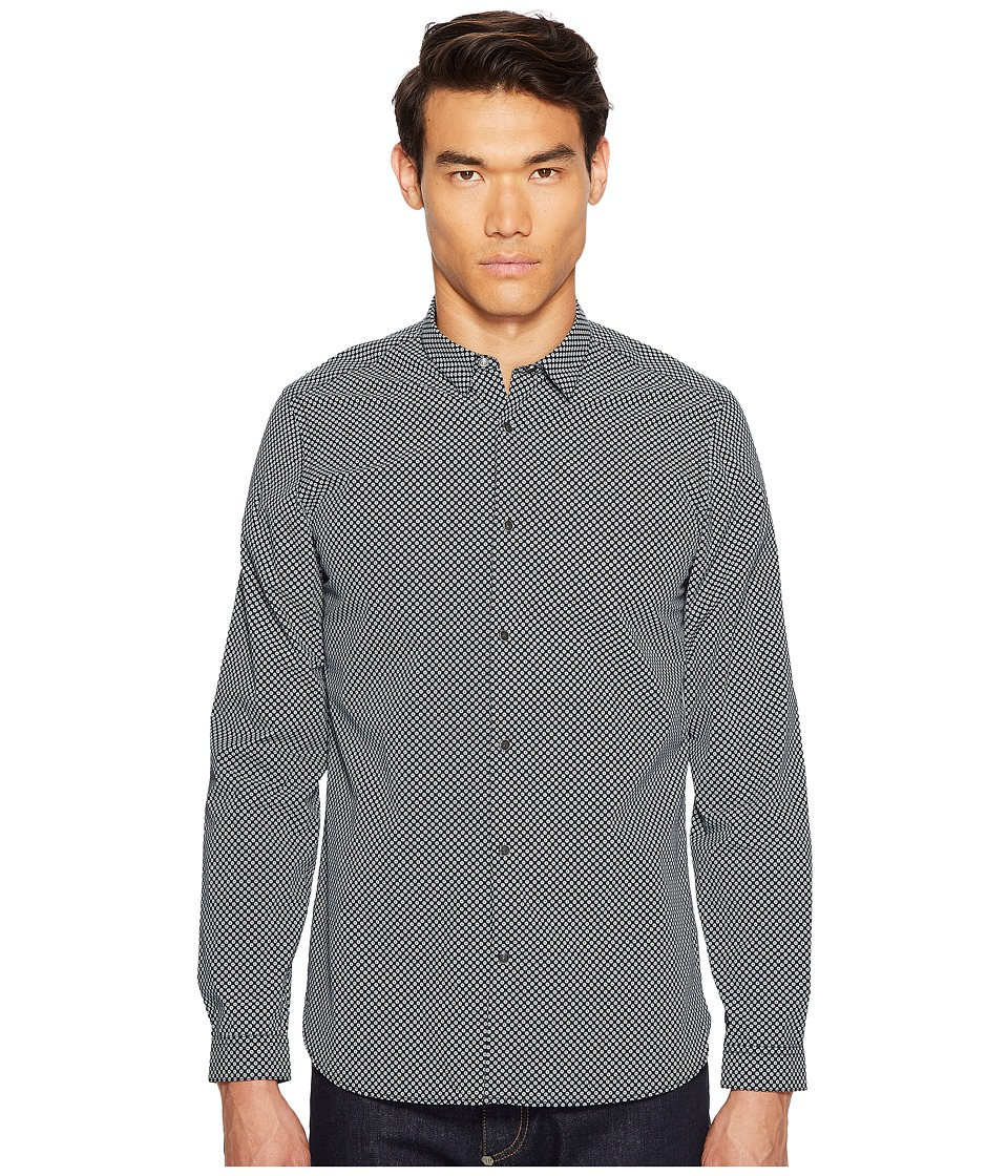 The Kooples - Printed Small Flowers Snap Buttons Classic Shirt (Navy/White) Men's Clothing