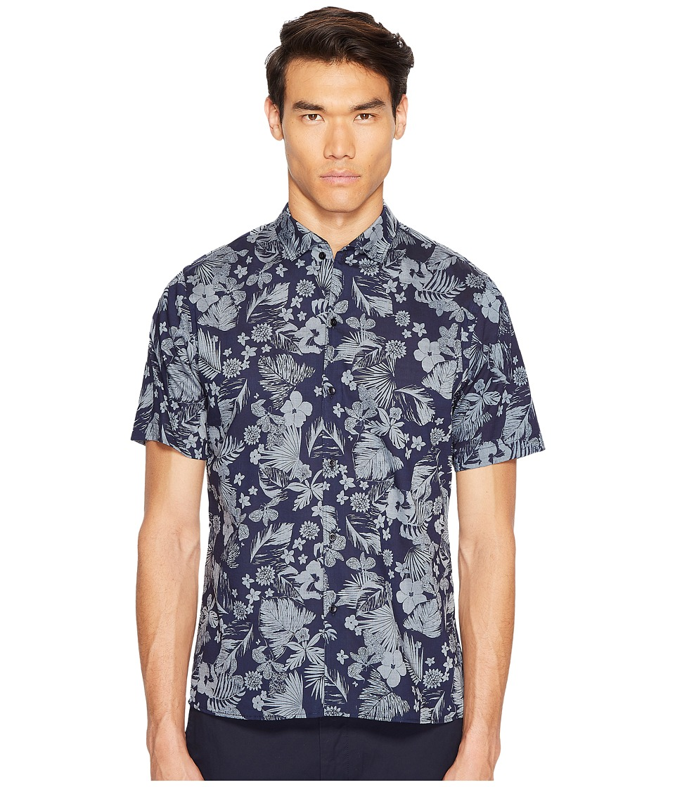 The Kooples - Collar Detail Short Sleeves Shirt (Indigo) Men's Clothing
