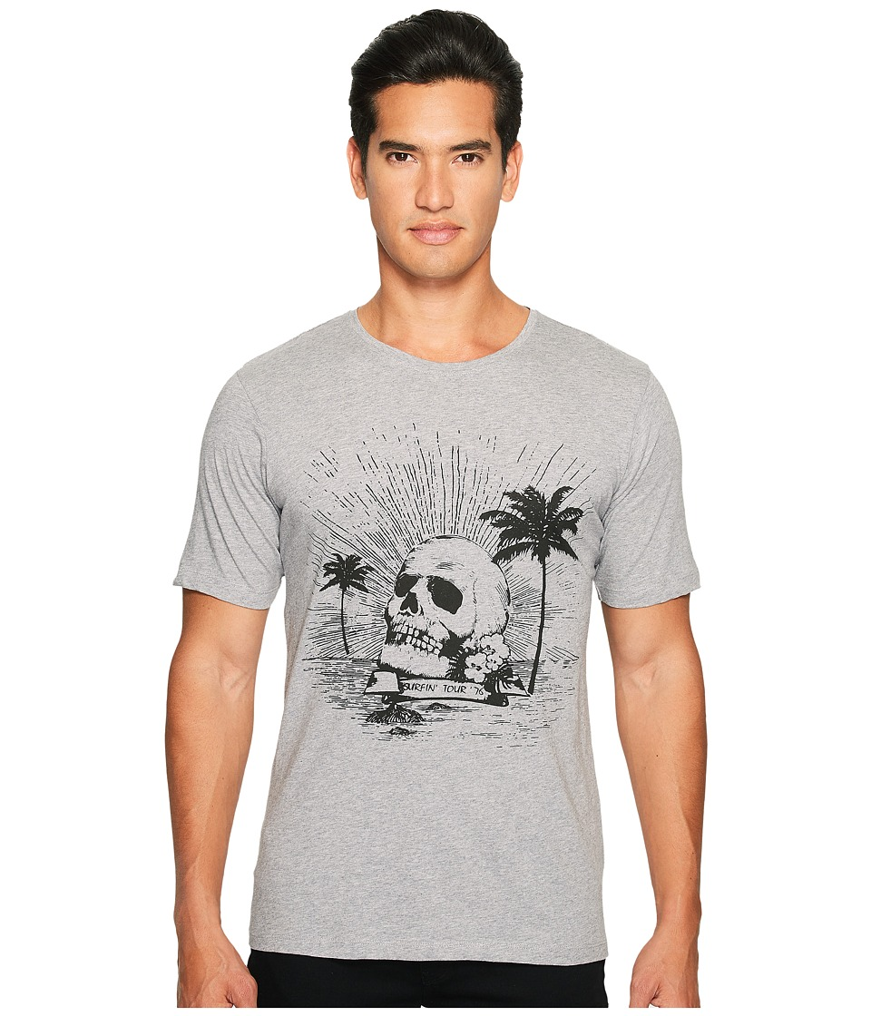 The Kooples - Black Palm Tree Skull T-Shirt (Light Grey) Men's T Shirt