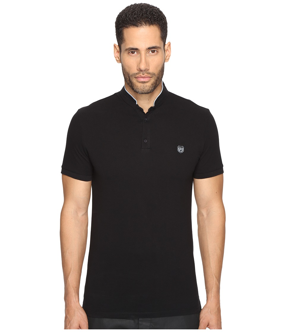 The Kooples - Officer Collar Polo with Contrasting Trim (Black/Sky Blue) Men's T Shirt