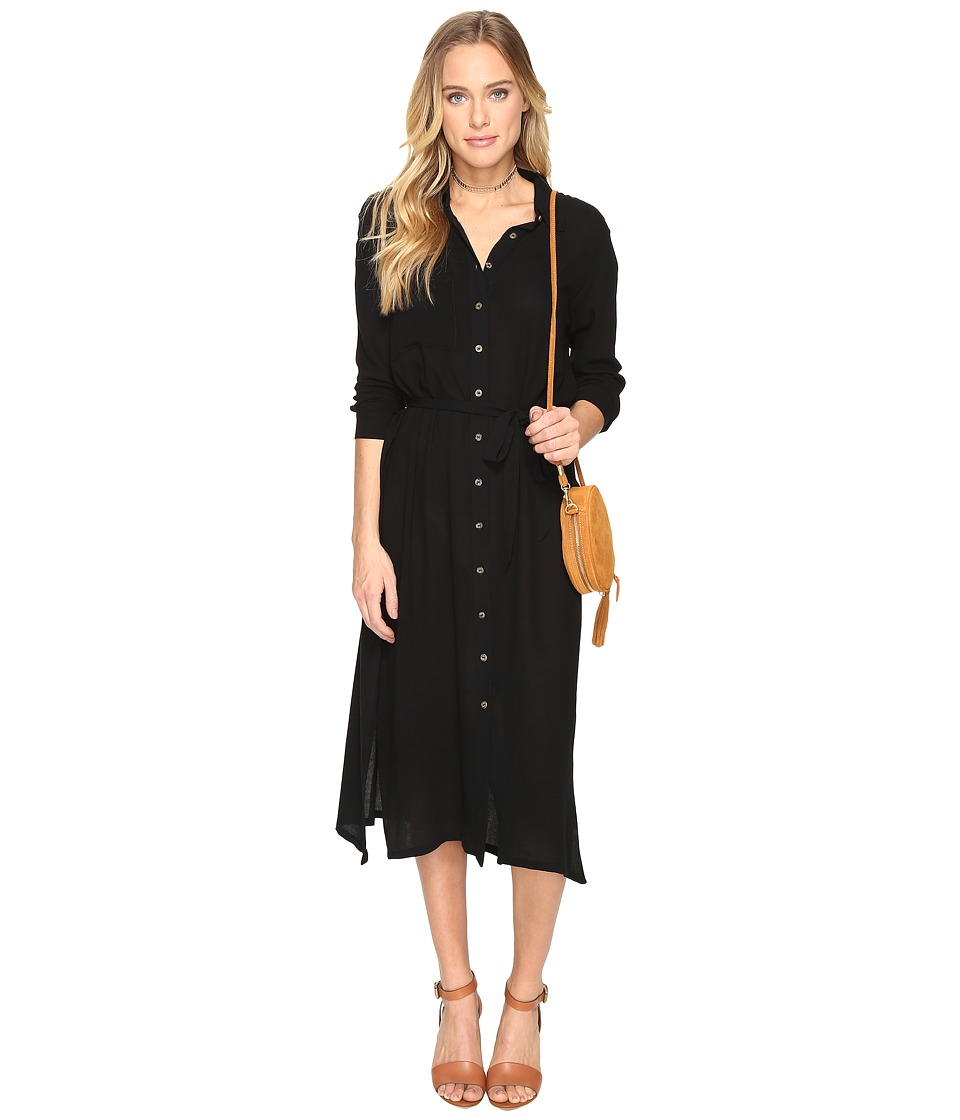 Clayton - Crepe Shirtdress (Black) Women's Dress
