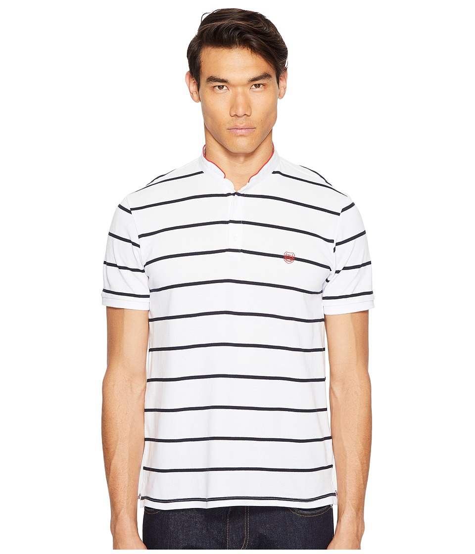 The Kooples - Striped Polo with Officer Collar (White/Dark Navy/Red) Men's T Shirt