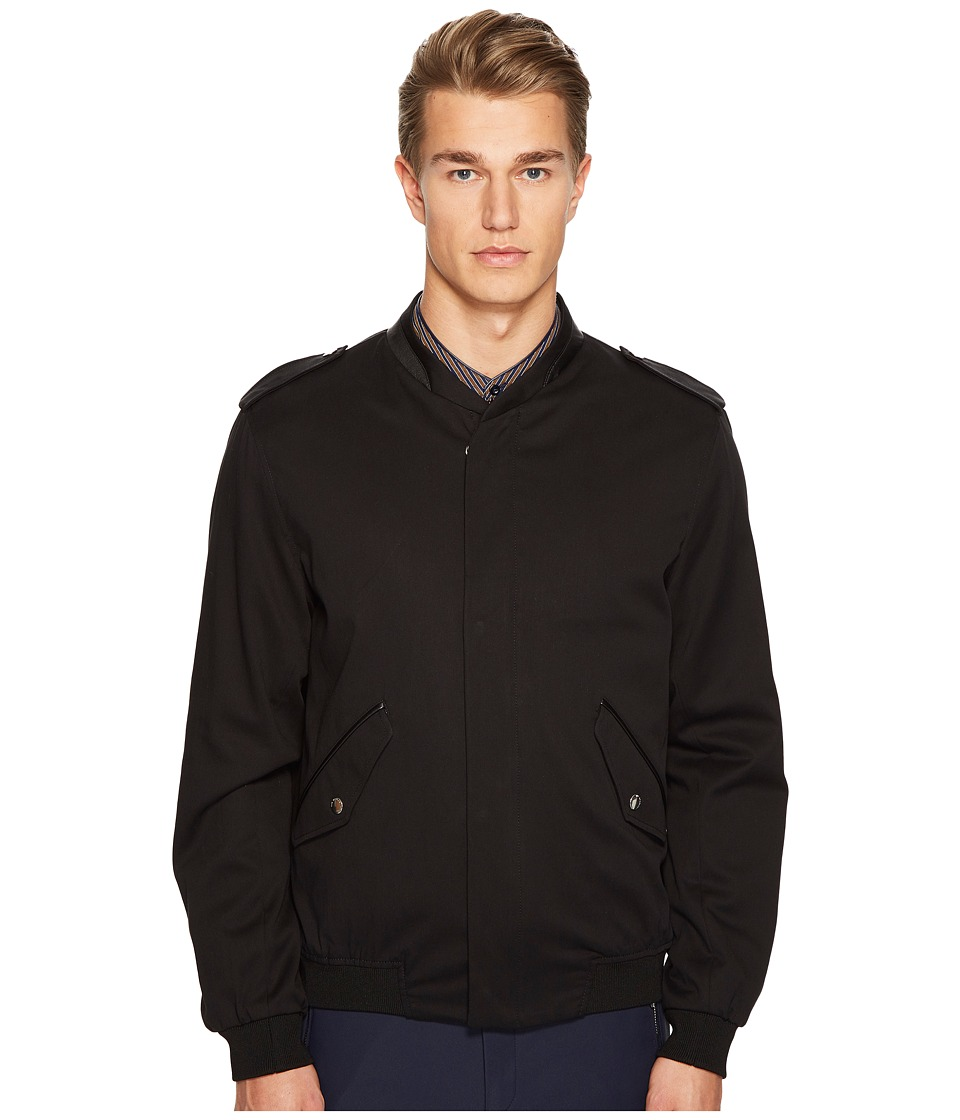 The Kooples - Cupro Jacket with Zip and Officer Style Collar (Black) Men's Coat