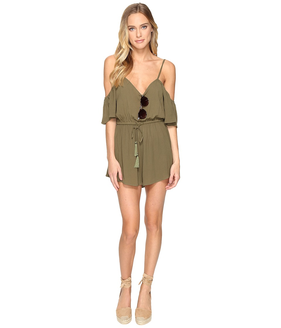 Clayton - Crepe Mckenna Playsuit (Olive) Women's Jumpsuit & Rompers One Piece