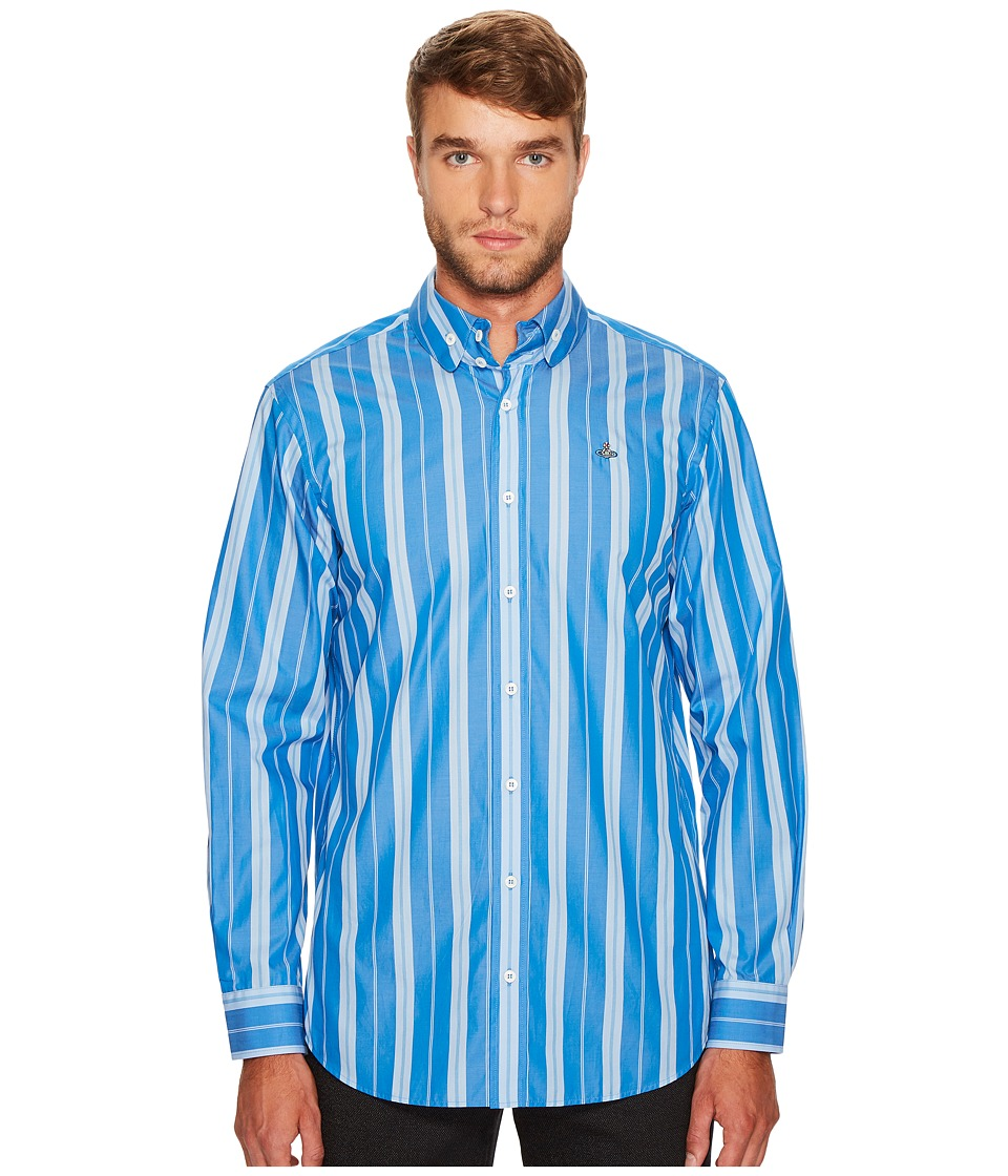 Vivienne Westwood - Andreas Stripe Two-Button Krall Shirt (Light Blue) Men's Clothing