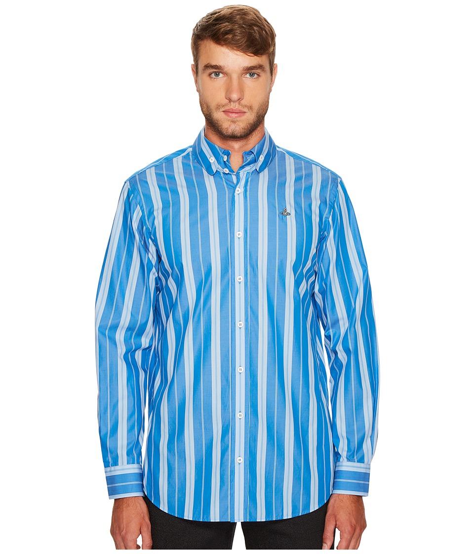Vivienne Westwood - Andreas Stripe Two-Button Krall Shirt (Light Blue) Men's Clothing