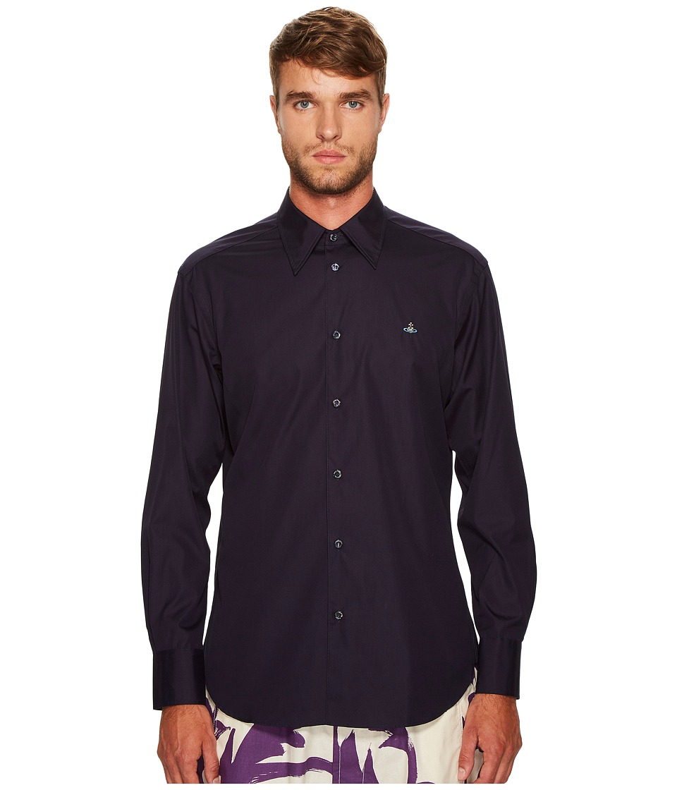 Vivienne Westwood - Poplin Cutaway Shirt (Navy) Men's Clothing