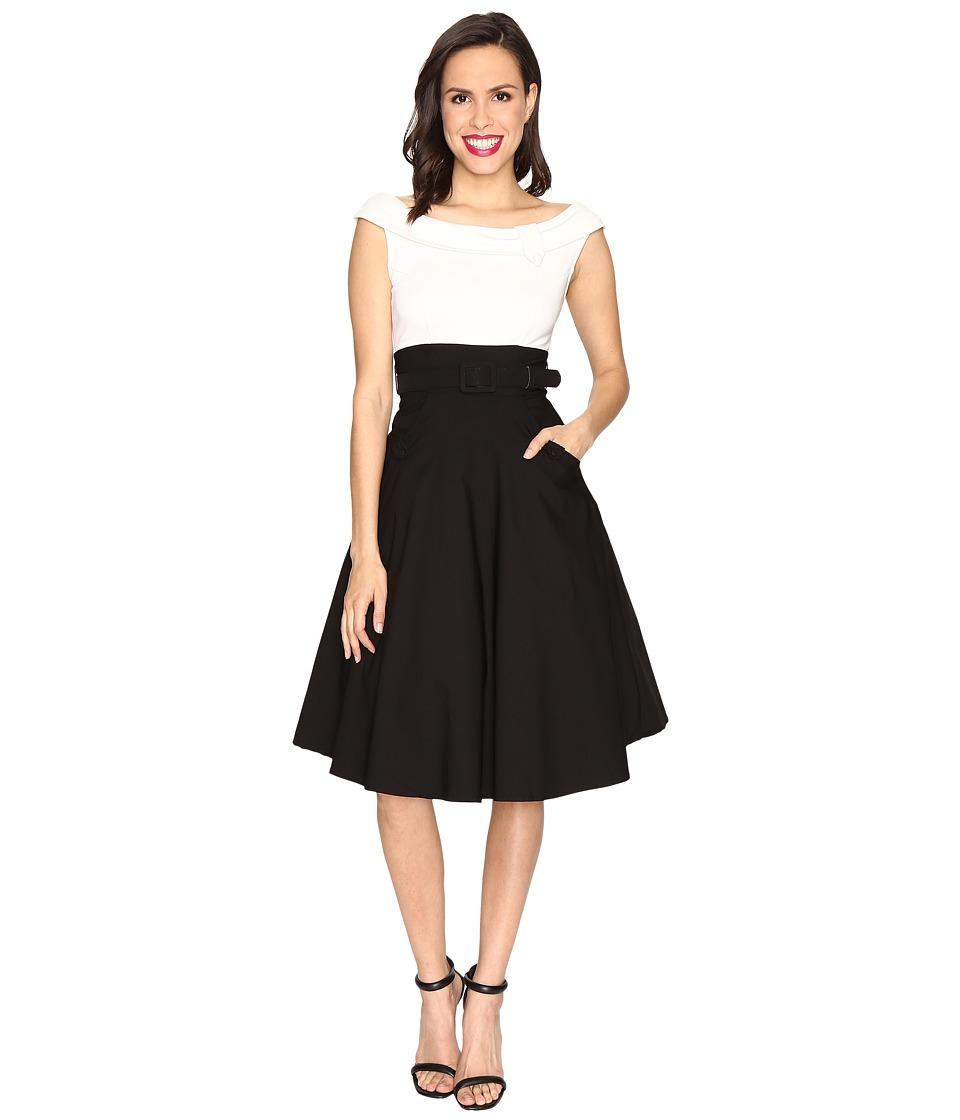 Unique Vintage - Tippie Color Block Off the Shoulder Dress (Black/White) Women's Dress